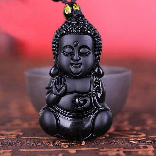 756 15 De Réductionchinois Artisanat Naturel Noir Obsidienne Sculpté Chanceux Bénédiction Bébé Bouddha Amulette Pendentif Collier