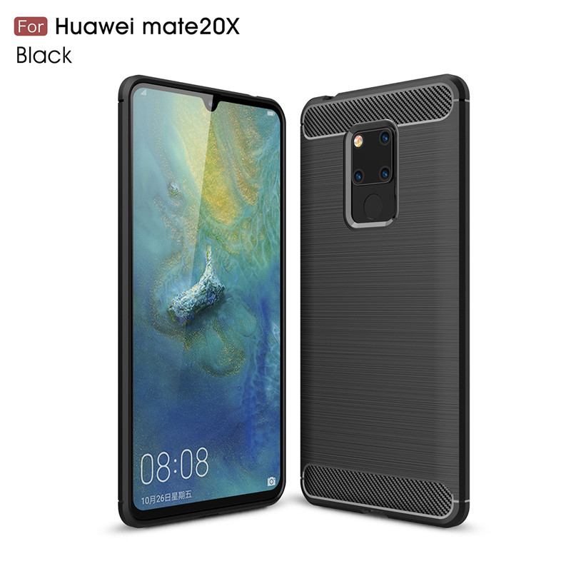 Carbon Fiber Phone Case For Huawei Mate 20 X Case Soft TPU Back Cover For Huawei Mate 20 X 20X Protective Phone Bumper 7.2''
