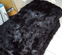 1.5m*1m Black rabbit fur rugs dyed rabbit fur blanket / real Rabbit skin / fur plate