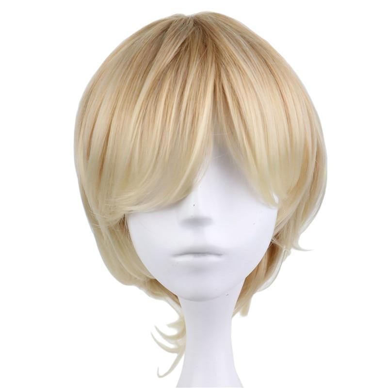 QQXCAIW Σύντομη σγουρά αρσενικά Cosplay - Συνθετικά μαλλιά - Φωτογραφία 2