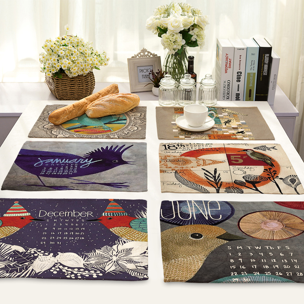CAMMITEVER Vintage Birds Leaves Dining Table Placemat Europe Style Kitchen Tool Tableware Pad Coaster Coffee Tea Place Mat
