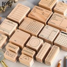 Lista de recordatorios Vintage, planificador de tiempo, sello DIY de goma de madera, sellos para álbum de recortes, papelería, álbum de recortes, sello estándar