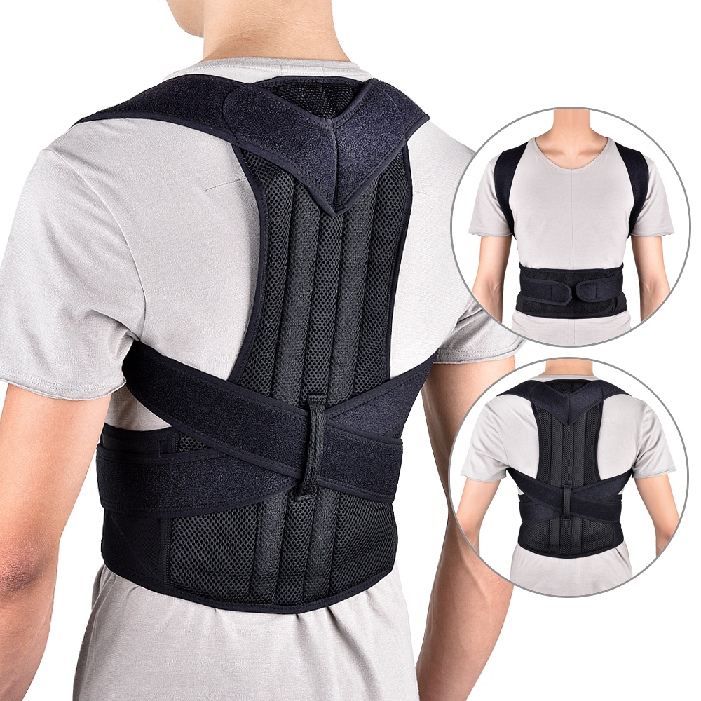Adjustable Adult Back Brace Support Posture Corrector Therapy Shoulder Lumbar Spine Clavicle Support Belt Posture Correction 2 pieces magnet posture back shoulder corrector support brace magnetic therapy belt therapy adjustable length free shipping