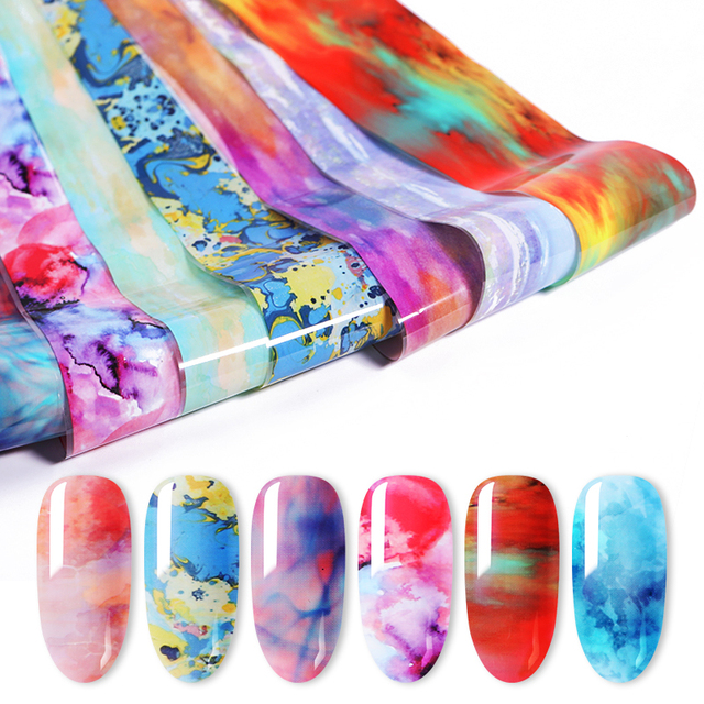 1 Roll Mixed Varnish Nail Foil Paper Blue Colorful Blossom Transfer Decals Paper Nail Stickers for Nail Art Decoration
