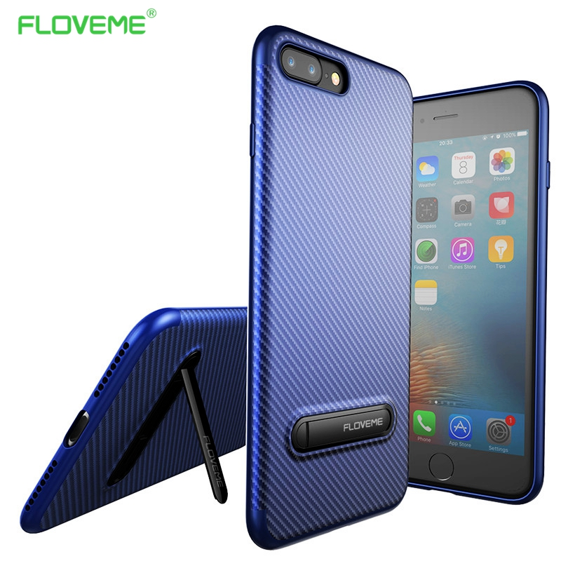 FLOVEME Full Protective TPU For iPhone 7 Case Metal Stent Back Cover for iphone7 plus Kickstand Cases for iPhone 6 6S Plus coque