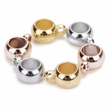 LOULEUR 100pcs/lot 8 10 mm CCB Spacer Beads With Hole Gold/Rhodium Color Big Loose For DIY Jewelry Making (not metal)