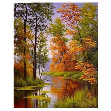DIY diamond painting scenery handmade full  embroidery Autumn Lake 5d square mosaic paste pattern