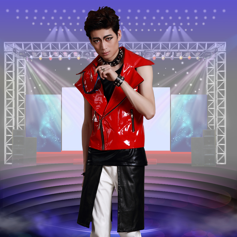 Fashion Male personality Leather Vest oOuterwear hiphop Jazz dance stage costume nightclub male singer dancer ds costumes