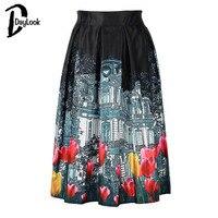 Daylook 2015 Summer Hot Sale Rose Print High Waist Pleated Skater Midi A Line Skirt Women
