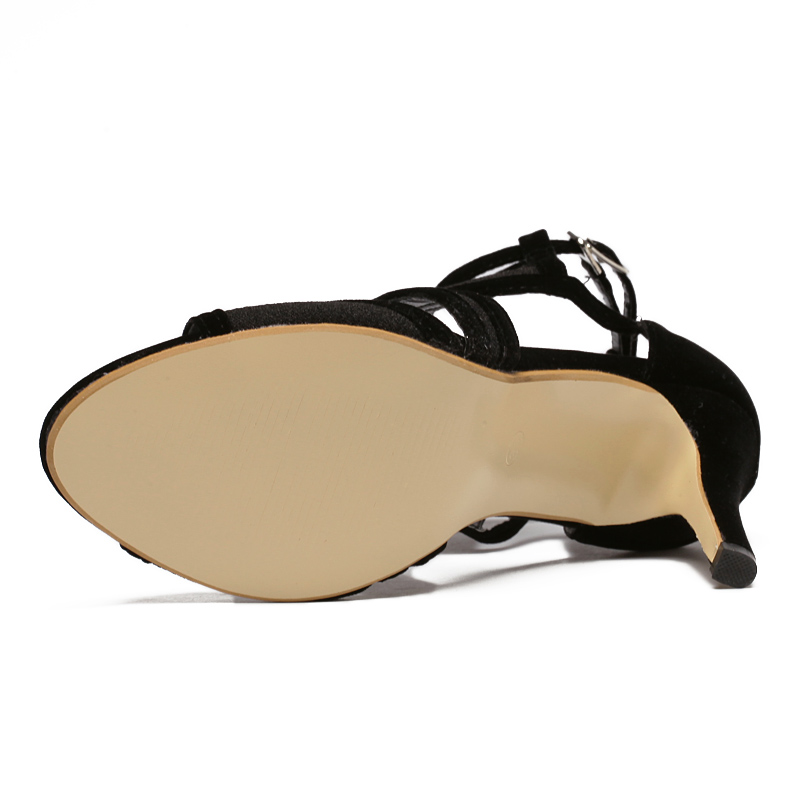Alto Hebilla Con Toe De Elegante Sandalias Verano Bombas Hueco Cm Negras Tacón Boda Mujeres Zapatos 9 Las Rebaño Peep Señoras OfTcw