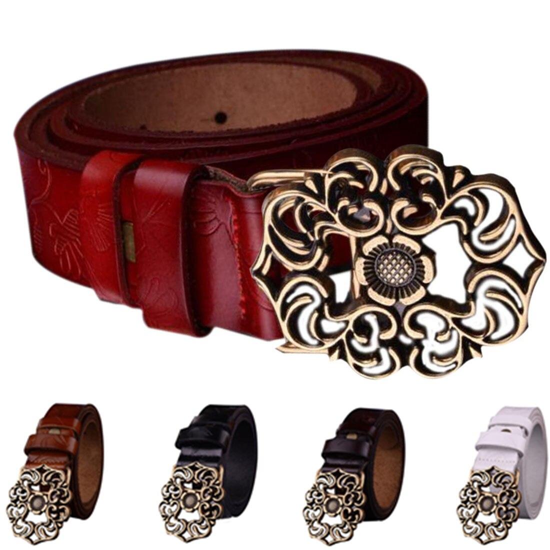 2017 Vintage Style Fashion Women Genuine Leather Metal Flower Buckle Belt Casual Waist Strap