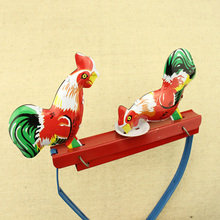 Creative Red Vintage Pecking Chicks Tin Toy Push Switch Collectible Gift