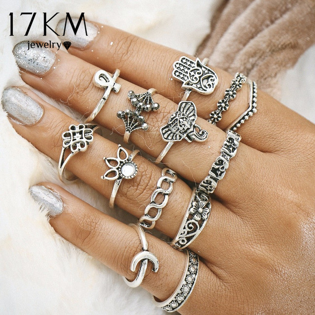 17KM Vintage Turkish Hasma Ring Sets Anillos 2017 New Geometric Silver Color Ele