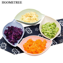 HOMETREE 1pc Small Seasoning Dish Wheat Straw Leaf Household Dip Clips Sauce Salt Vinegar Spices Creative New Dishes Plates H710