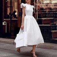 Elegant White Prom Women Fashion Summer Party Dresses Sleeveless Vintage Solid Ruffle Sleeve A Line Swing Dresses vestidos