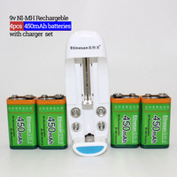 Etinesan 4pcs 9v 450mAh Ni MH Rechargeable Battery + Charger Apply to 9V AA AAA 18650 CR123A CR2 14500 14505 batteries