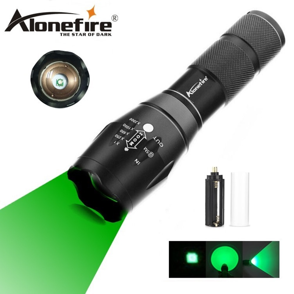 AloneFire E17 Zoomable Scalable CREE LED 300Yards Long Range Green Light Flashlight Green Hunting Light Tactical Flashlight