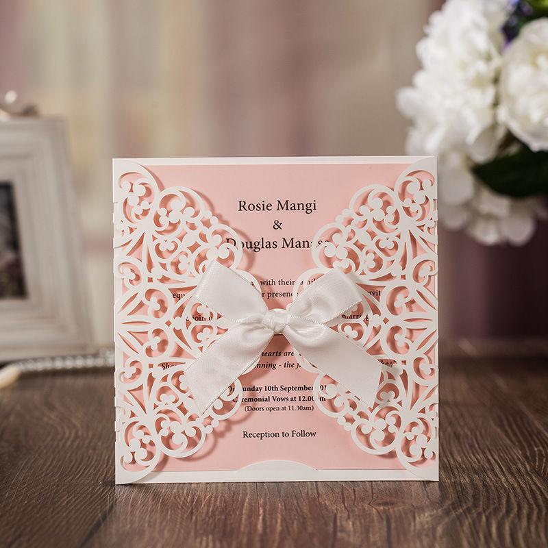 e6bb10581 H & D 60x Pink laser cut boda dulce Tarjetas de invitación kit con bowknot  personalizada impresión fiesta boda