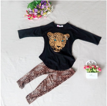 Free Shipping Girls Clothes Baby Clothing Sets Kids Clothes Tiger Head Print Full Sleeve Leopard T-Shirt +Legging 2Pcs Set 2-12Y