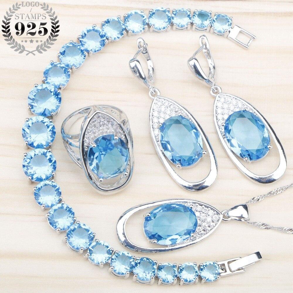 Blue Zircon 925 Silver Costume Jewelry Sets Women Necklace&Pendant Charms Bracelets Earrings Rings Stones Set Jewelery Gift Box