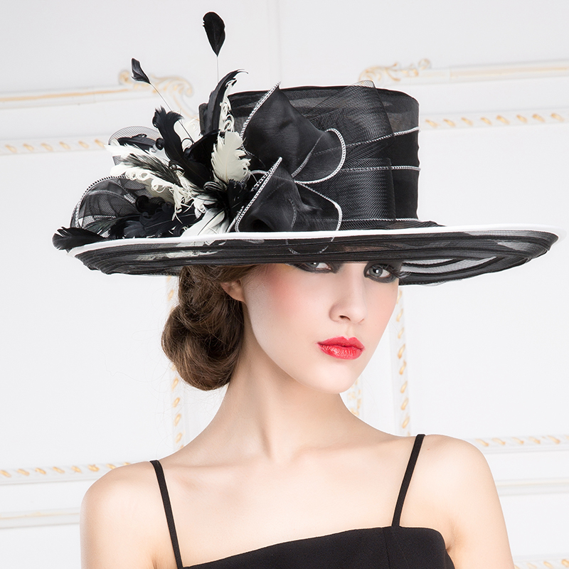 Lady New Organza Fedoras Hat Female Fashion Ogan Yarn Hat Wide Brim Sunscreen Outdoor Travel Cap British Dress Party Hat B-8196