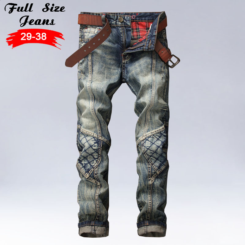 Original Design Men Patchwork Denim Jeans Men's Slim Fit Hole Ripped Straight Pants Long Trousers aberdeen hitz cat men s jeans slim korean straight hole young haren long pants