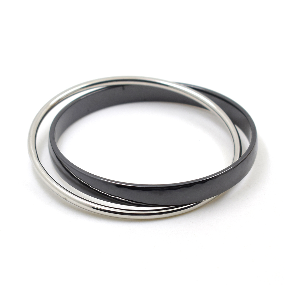 2018 Big Black and White Couple Shell Stainless Steel Love Men Women Slide Carter Bangle Cuff Bracelet Valentine