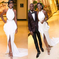 2019 Fashion African Nigerian Evening Dresses For Black Girls Party Formal Prom dress halter Neck Ruffles Special Occasion gown