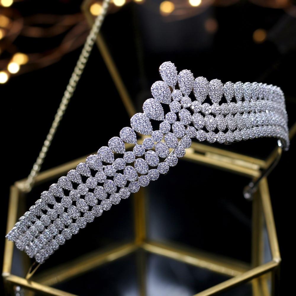 Asnora Completo CZ circon estilo princesa corona vintage tiara nupcial accesorios para el cabello noche accesorios