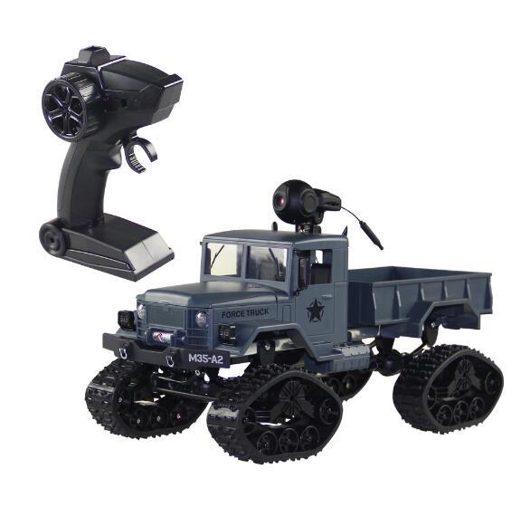 NOUVELLE RC Camion WiFi 2.4 ghz 1/16 4WD Neige Pneus Camion Hors-route avec la Lumière Avant WiFi FPV 0.3MP caméra Militaire Camion RTR FY001B