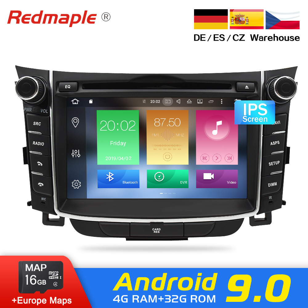 Android 9.0 Auto Dvd Stereo radio GPS Multimedia-Player Fü<font><b>r</b></font> Hyundai <font><b>i30</b></font> Elantra GT 2012 2013 2014 2015 2016 Auto Audio navigation image