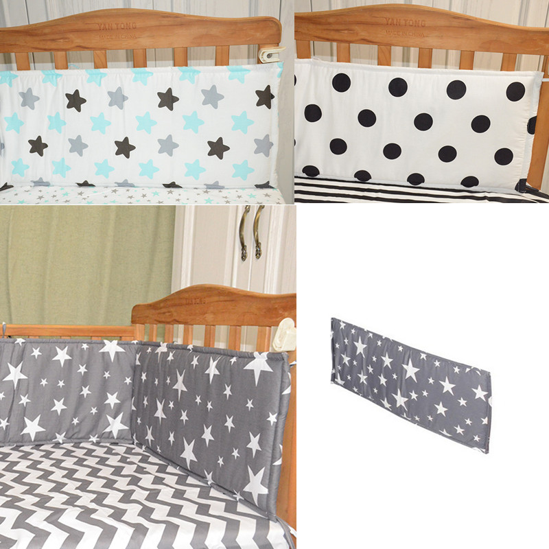 Baby bed bumper 70*28cm(1pcs only) Bumpers In the Crib For Newborn Cotton Linen Cot Bumper Bed Protector Grey stars