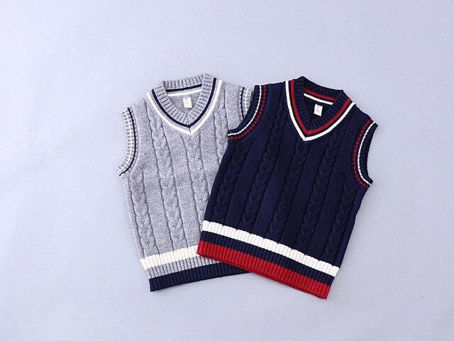 a3351529ab45 Cardigan Girls Boy s V neck Sweater Knit Vest Children s pullover ...