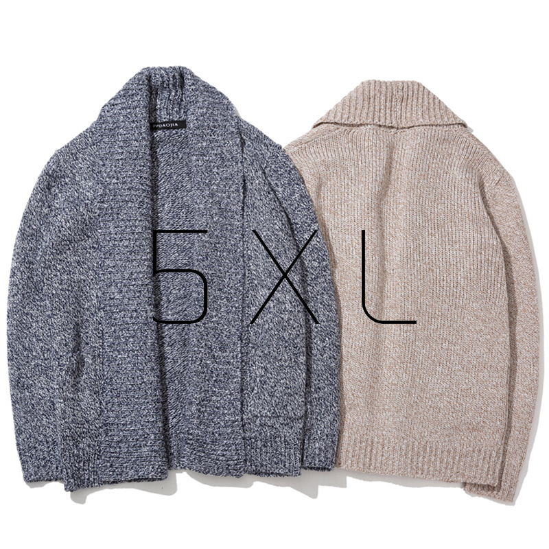 Large Oversized Korean Fashion Shawl Collar Winter Knitted Coat Male Cardigan Sweater Men Plus Size 4XL