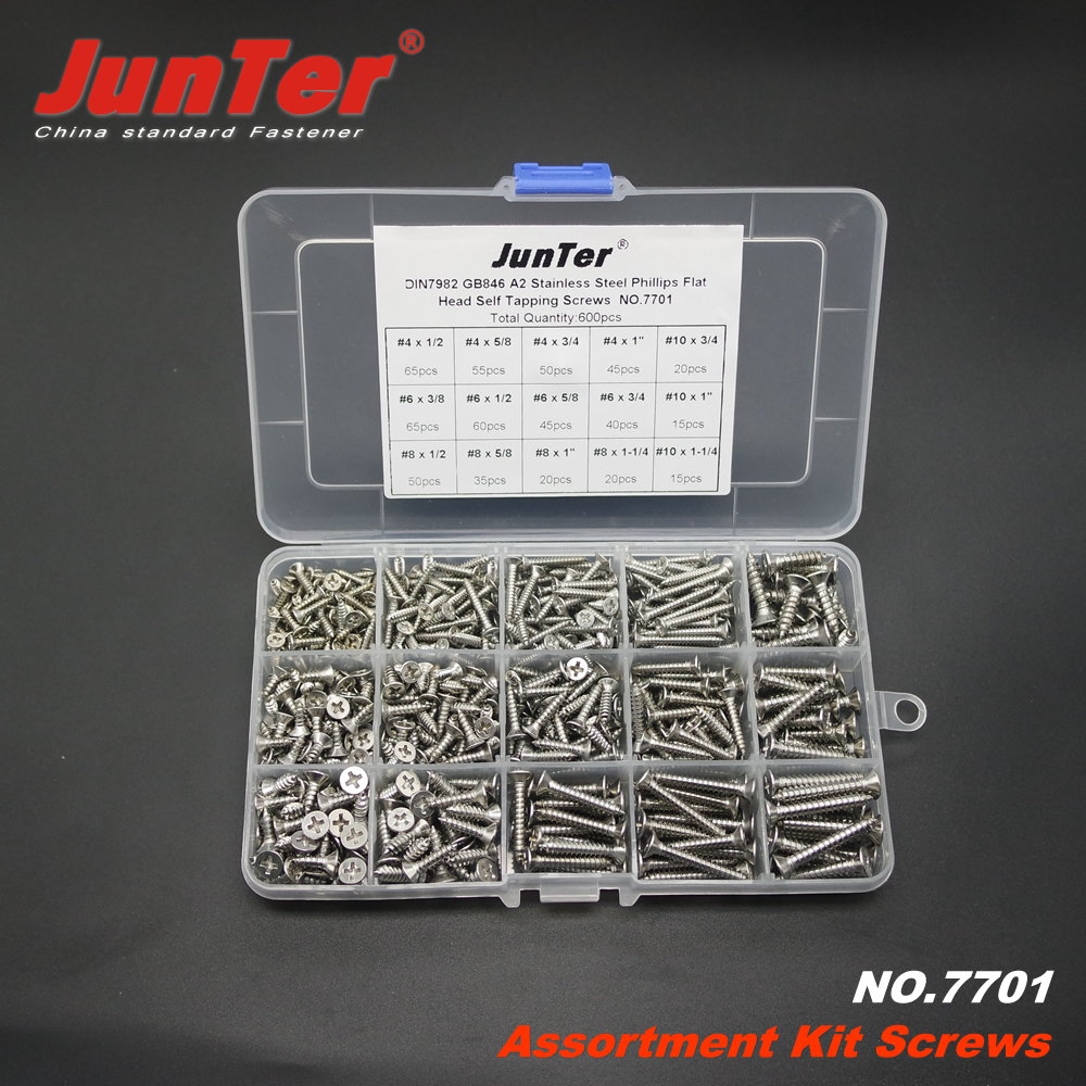60DIN7982 #4 #6 #8 #10 A2 Stainless Steel Phillips Flat Head Self Tapping Screws Assortment Kit NO.7701