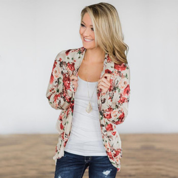 2019 New Autumn Winter Thin Women Outerwear Casual Long Sleeve Floral Print Loose Tops Cardigan Coats Plus Size Outerwear Female