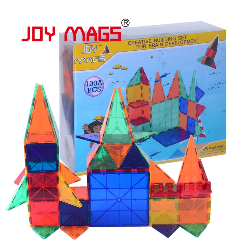 JOY MAGS 100 Pcs Tiles Magnetic 3D Building Blocks Construction Creativity Inspirational Recreational Educational 150pcs joy mags brand magnetic tiles models blocks diy building toys inspire adult