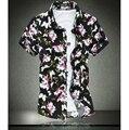 HOT!!! moda camisa de algodão mercerizado elástico flor camisa de manga curta tamanho 7XL