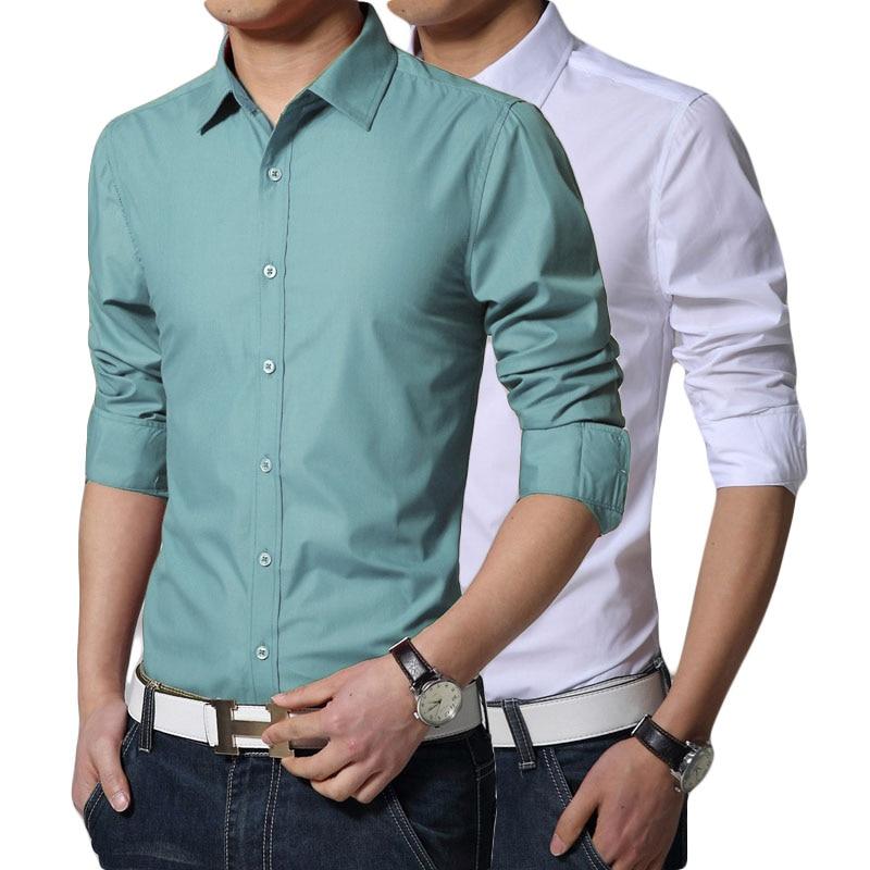 S-XXXL 2019 الرجال أنيق الخريف ضئيلة عالية الجودة القطن طويل الأكمام قميص / ذكر مهرج الترفيه قميص لون نقي الأعمال