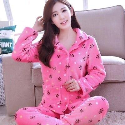 Pijamas de inverno coral de veludo das mulheres outono das mulheres cardigan de manga longa flanela pijamas pijamas das senhoras das mulheres de inverno