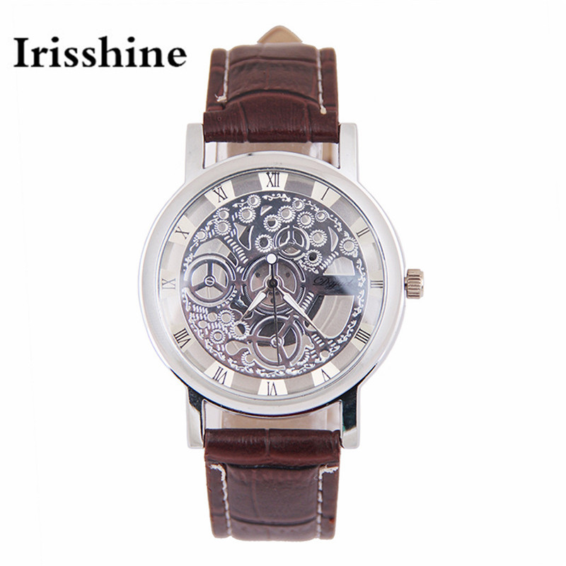 Irisshine B08 brand luxury Unisex watches clock girl lady gift mens Womens Imitation  Mechanical Gear Watch
