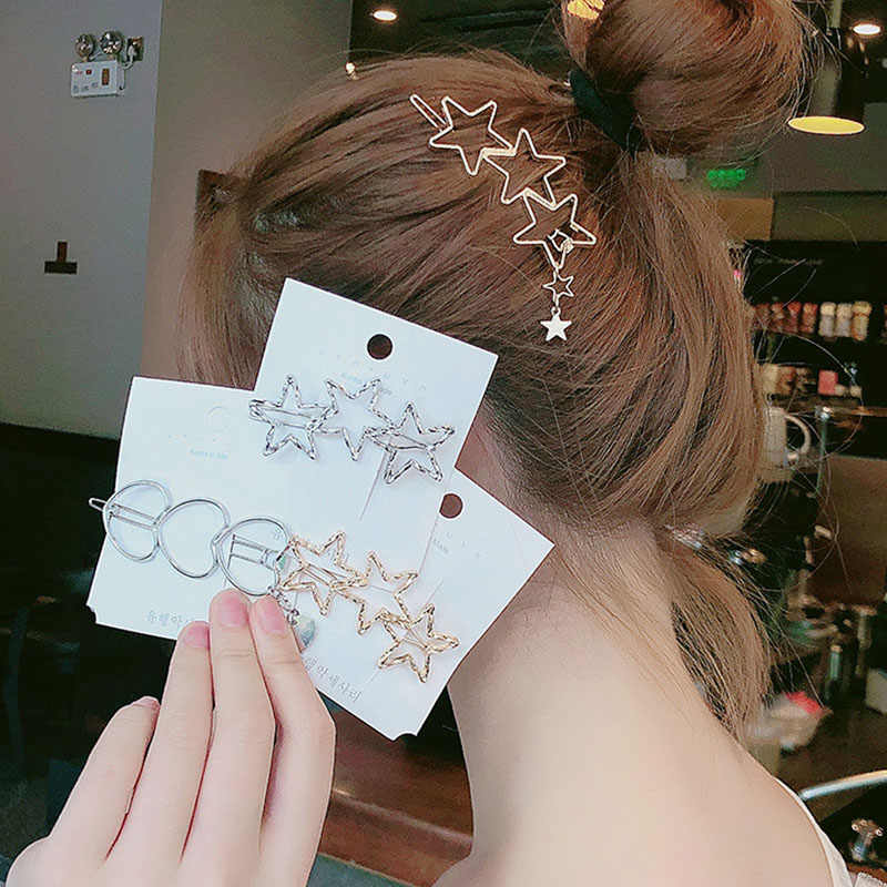 2019 New Women Vintage Heart Star Geometric Alloy Hairpins Sweet Headband Hair Clips Barrettes Female Fashion Hair Accessories