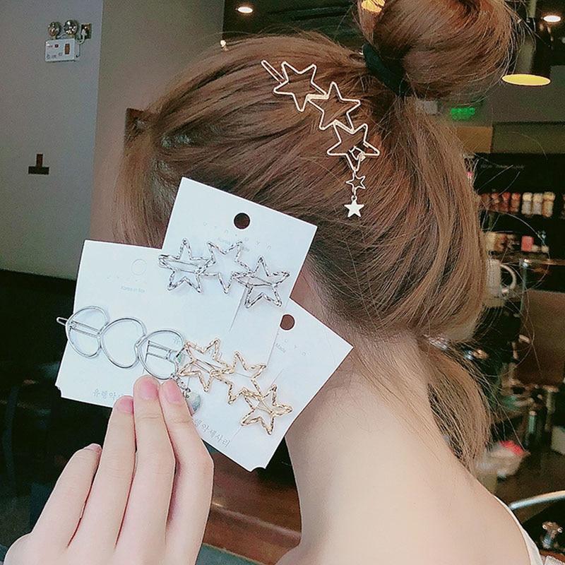 2019 New Women Vintage Heart Star Geometric Alloy Hairpins Sweet Headband Hair Clips Barrettes Female Fashion Hair Accessories