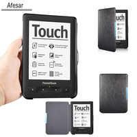 Para PocketBook Touch 622 eBook eReader funda y Pocketbook Touch Lux 1st 623 folio Funda de cuero con imán tejidos clausurado