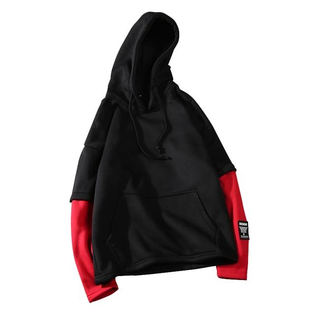 2018 Men Hip Hop Hoodies casual Raglan sleeves Spring&Autumn patchwork Sweatshirt male clothing M-3XL