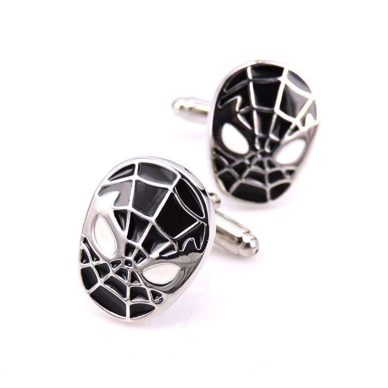 HYX Luxury Wholesale Jewellery <font><b>Silver</b></font> <font><b>Spider-Man</b></font> <font><b>cufflinks</b></font> male French shirt cuff links for men's Jewelry Gift free shipping