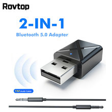 Rovtop Bluetooth 5.0 Audio Receiver Bluetooth Transmitter Adapter Mini 3.5mm AUX Stereo For TV PC Wireless Adapter Car(China)