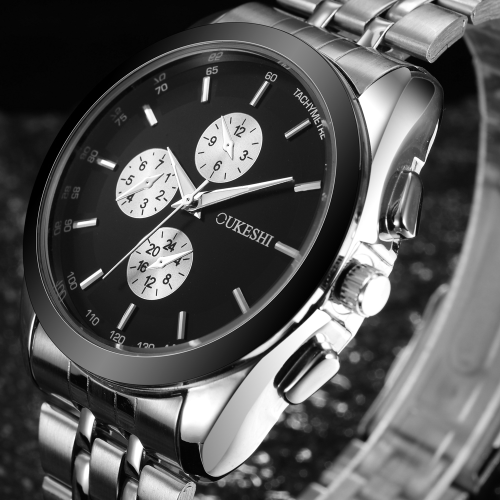 OUKESHI Top Brand Luxury Men Watch Fashion Sport Stainless Steel Quartz Wristwatch Military Boutique Dropshipping Watches Clock oukeshi calendar quartz men watch top brand luxury fashion leather wristwatch casual sport military boutique watches clock 2017