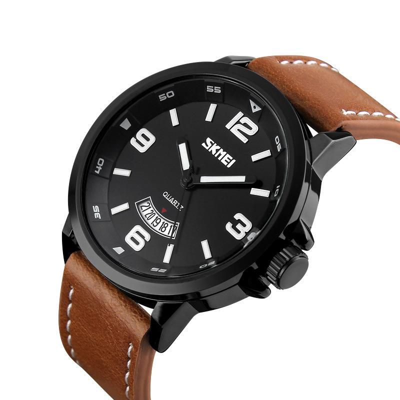 332f3891a5 Luxury Fashion Army Mens sports Watch Brand Military Army WristWatch Thick  Brown Black Leather Strap Business Watch for Man 9113