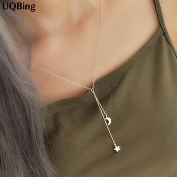 cf421e04091a Venta al por mayor 925 collares de Plata de ley corazón estrella Luna  colgantes y collares Collar de joyería Colar de Plata